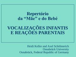 """Repertório da """"Mãe"""" e do Bebé VOCALIZAÇÕES"""