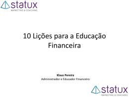 Educação Financeira: Dez lições para reeducar. - DH