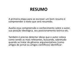 RESUMO - Jornalismo