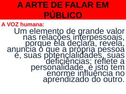 A ARTE DE FALAR EM PÚBLICO