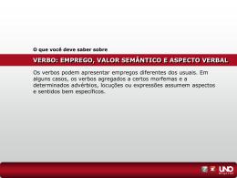 verbo: emprego, valor semântico e aspecto verbal
