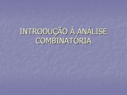 INTRODUÇÃ À ANÁLISE COMBINATÓRIA