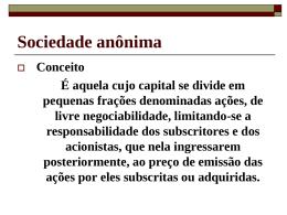 Sociedade Anônima Características