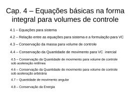 Cap. 4 – Energia para volume de controle