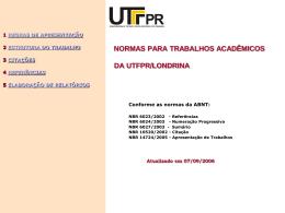 NORMAS PARA TRABALHOS ACADÊMICOS DA UTFPR