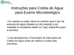 Instruções para coleta de água para exame microbiológico