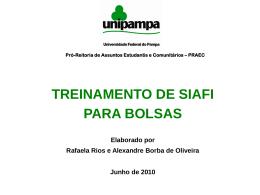 Apresentação do treinamento de SIAFI para bolsas - Pró