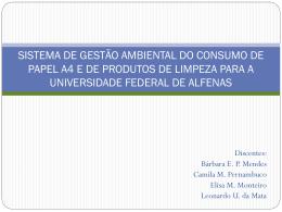 Consumo papel e produtos de limpeza_apresentação - Unifal-MG