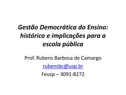 Gestão Democrática do Ensino: histórico e implicações para a