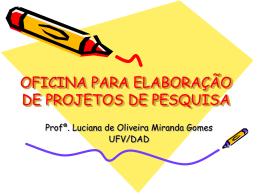 OFICINA DE METODOLOGIA DE PESQUISA
