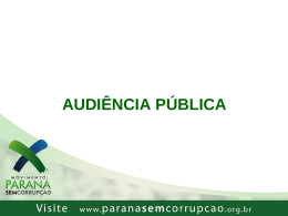 Roteiro Básico para Realização de Audiência Pública