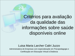 Critérios para avaliação da qualidade das informações sobre