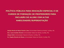 política pública para educação especial e os cursos de formação de