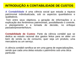 INTRODUÇÃO A CONTABILIDADE DE CUSTOS - CRA-MA