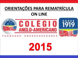 RE - Matrícula Para alunos do Anglo Americano pelo Portal