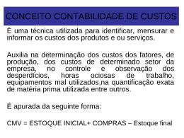 TERMINOLOGIA EM CUSTOS INDUSTRIAIS - CRA-MA