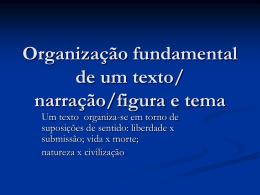 Organização fundamental de um texto/ narração/figura e