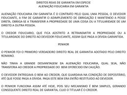 DIREITOS REAIS DE GARANTIA EM ESPECIE