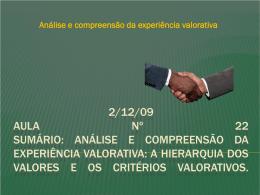 2/12/09 Aula nº 22 SUMÁRIO: Análise e compreensão da