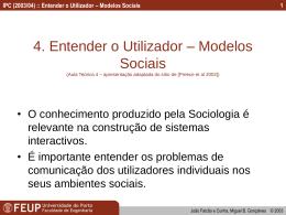 Entender o Utilizador – Modelos Sociais