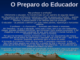O Preparo do Educador