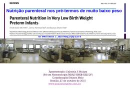 Nutrição parenteral nos pré-termos de muito baixo peso
