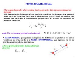 Força gravitacional e centro de massa