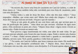 "As bodas de Caná - Centro Studi Biblici ""G. Vannucci"""