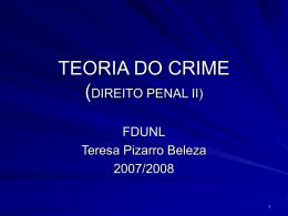 Dogmática do Crime. - Faculdade de Direito da UNL