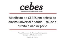 Manifesto do CEBES em defesa do direito universal à saúde