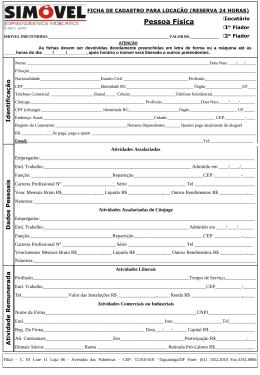 Ficha de Cadastro Pessoa Física