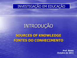 sources of knowledge fontes do conhecimento