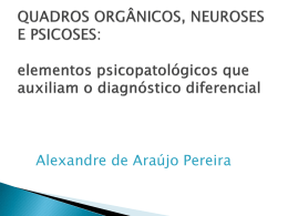 Transtornos mentais orgânicos X Transtornos