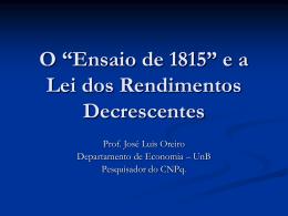 """O """"Ensaio de 1815"""" e a Lei dos Rendimentos"""