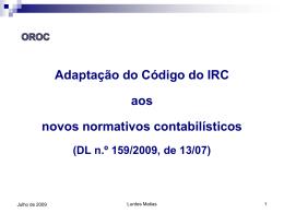 Adaptação do Código do IRC aos Novos Normativos Contabilísticos