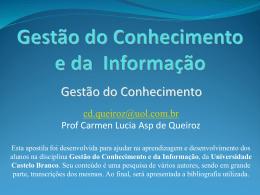 Gestão do Conhecimento - Universidade Castelo Branco