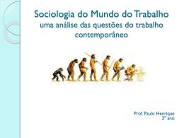 Sociologia do Mundo do Trabalho