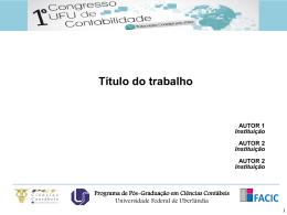 Título do trabalho - I Congresso UFU de Contabilidade