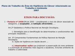 Plano de Trabalho - Instituto Nacional de Câncer