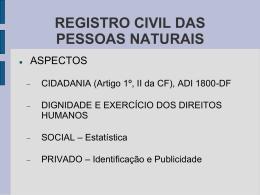 Registro Civil das Pessoas Naturais Nascimento