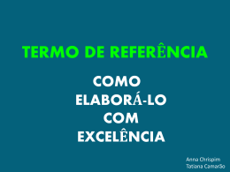 o quê é termo de referência? - TCE-RO