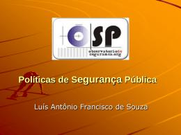 Políticas locais de segurança pública