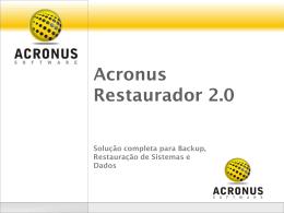 Apresentação Acronus Restaurador Plus