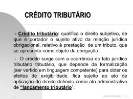 Aula de Crédito e Lançamento Tributário
