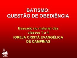 Batismo - Questão de Obediência