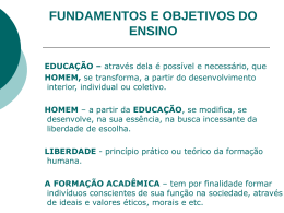 FUNDAMENTOS E OBJETIVOS DO ENSINO