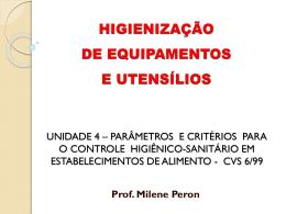 parâmetros e critérios para o controle higiênico