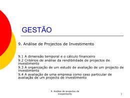 Cap. 9 - Análise de projectos