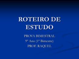 ROTEIRO DE ESTUDOS