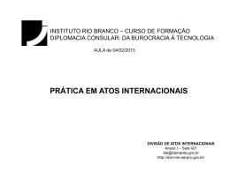 Atos Internacionais - Ministério das Relações Exteriores